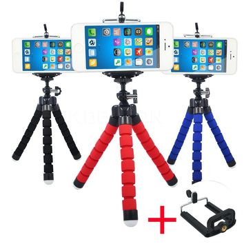 Hot Camera Phone Holder Flexible Octopus Tripod Bracket Stand Mount Monopod + Clip For Iphone samsung Mobile Phone Camera