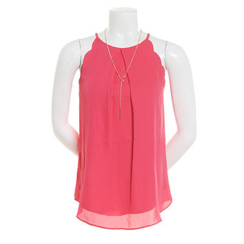 Juniors A. Byer Sleeveless Scallop Arm Necklace Blouse