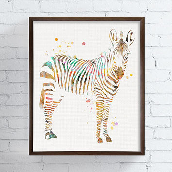 Zebra Watercolor Print, Zebra Art, Zebra Painting, African Animal, Safari Animal, Kids Room, Childrens Room, Nursery Decor, Zoo, Animals