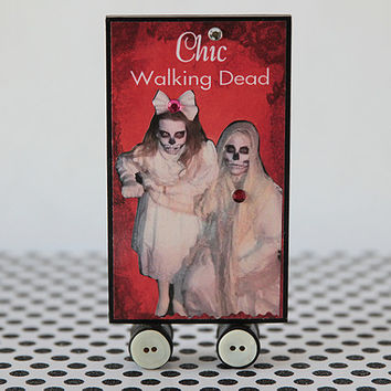 One handmade Halloween Tableau decoration with a different design on each side, chic Walking Dead table centerpiece decor, day care walkers