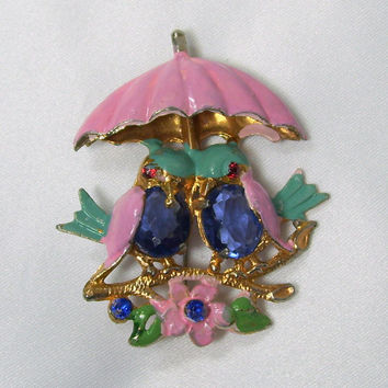 Vintage Fred Grey Enamel Rhinestone Brooch Blue Birds Pink Umbrella Pin