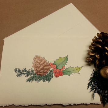 Rustic Christmas Card, Hand Painted Stationary, Custom Greeting Card, Original Watercolor Art, Pine Cone and Holly, Holiday Thank You Card