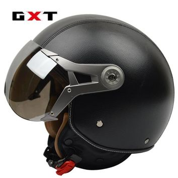 GXT genuine leather vintage retro 3/4 t vintage scooter Harley motorcycle helmet capacete cascosopen face moto helmets
