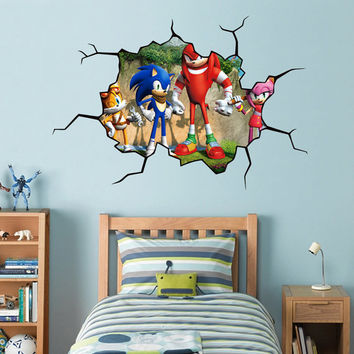 Sonic The Hedgehog Cracked WALL EFFECT Decal STICKER