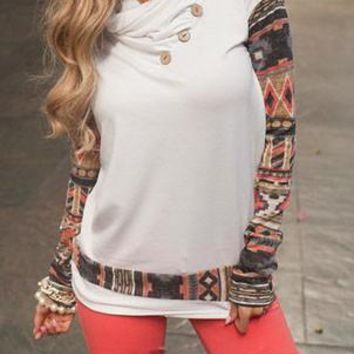 White Print Buttons Cowl Neck Long Sleeve Pullover Sweatshirt