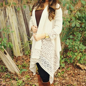 Sunset Triangles Cardigan: Tan/Brown | Hope's