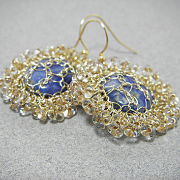 Golden dew Sparkling Crystal earrings with Deep Blue Sodalite Crochet wire Israeli Jewelry