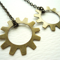 Steampunk Gear & Long Bronze Chain Earrings