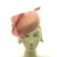 Peach Straw Pillbox Hat  Salmon Pink Cocktail by TheMillineryShop