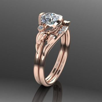 Unique Wedding Ring Set, Flower Leaf Engagement Rings