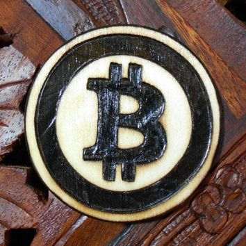 "2"" Bitcoin Magnet - Wood Burned Magnet, Pyrography Art, Wood Magnet, Bitcoin"