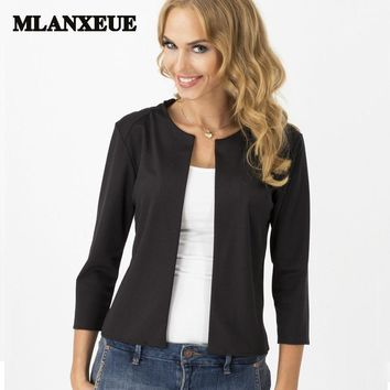 Slim solid casual women blazers and jackets office work wear elegant simple fashion no-breasted full sleeves blazers suit women