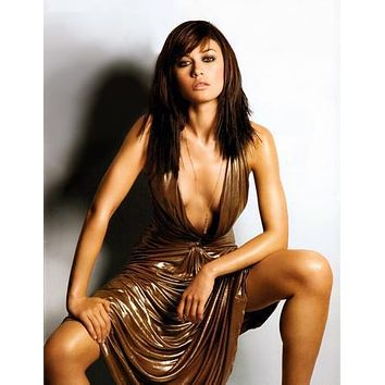 Olga Kurylenko Low Cut Dress poster Metal Sign Wall Art 8in x 12in