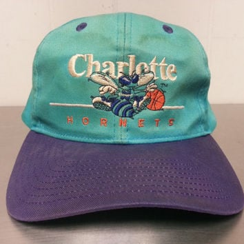 Vintage 90's Charlotte Hornets Snapback Dad Hat Teal Blue Purple NBA Basketball Made By Twins