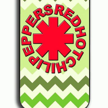 iPhone 4S Case - Hard (PC) Cover with Red Hot Chili Peppers Green Chevron Plastic Case Design