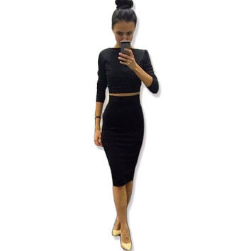 Free Shipping  New 2016 Summer Style Women Dress Sexy Celeb Bandage Dress 2 Piece Set Women Dresses Party Dresses Vestidos