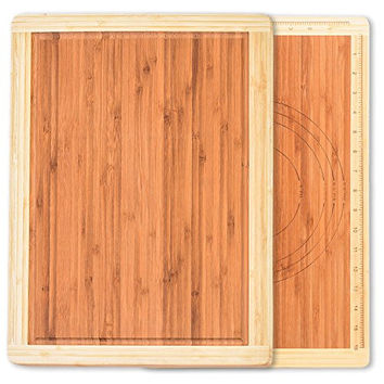Best Home Kitchen Bamboo Cutting Board For Fish, Chicken, Cheeses, Vegetables & Meats. Unique Easy Measuring BPA Free All Natural Eco Friendly & Antibacterial Wood Chopping Board by Culinary Corner®