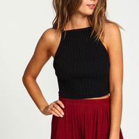 Black Knit Rib Crop Top