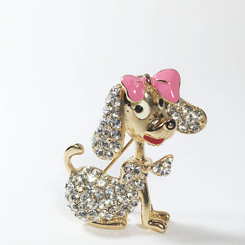 Vintage Rhinestone Puppy Pin, Gold Tone Doggie with Pink Enamel Bow, Dog Figural Jewelry