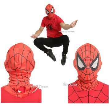 Licensed cool Marvel  SPIDER-MAN Spiderman Face Costume Cosplay Mask w/Mesh Eyeholes