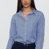 Terry Striped Blouse - Navy