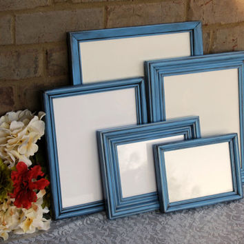 Rustic photo frames: Set of 5 vintage antique blue hand-painted decorative wooden wall collage gallery picture frames