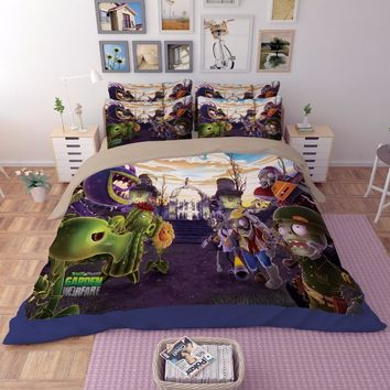 Plants vs. Zombies game 3D print bedding sets Children's boy Adult duvet cover full queen king size Good quality Home textile