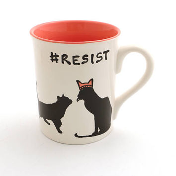 resist mug - womans march - pink pussycat hat - cat lover mug - mug for activist - hashtag resist mug