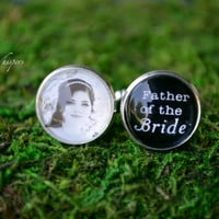 Father Of The Bride Cuff Links - Custom Wedding Bridal Photo Cufflinks - Father Of Bride - Wedding Photo Cuff Links - Custom Wedding Gift