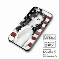 Lana del Rey Cute Pose and American Flag iPhone 4 5 6 6+ Samsung Galaxy S3 4 5 iPod Touch 4 5 HTC One M7 8 Case