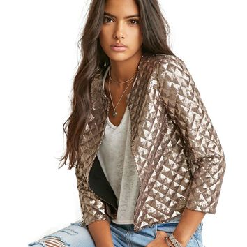 Brand New Spring Style Vogue Lozenge Women Gold Sequins Jackets Three quater sleeve Fashion Coats Outwears