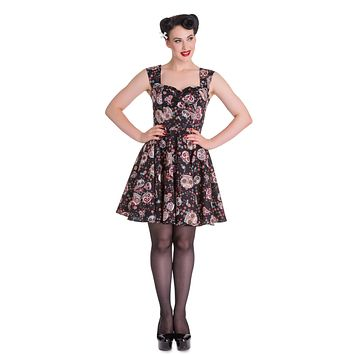 Hell BUnny Rockabilly Gothic Calavera Day of the Dead Flower Sugar Skull Black Dress