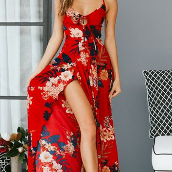 Tiger Lily Floral Pattern Sleeveless Spaghetti Strap Backless Lace Up Casual Maxi Dress - 2 Colors Available