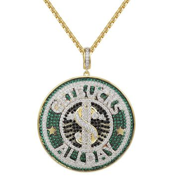 "Hip Hop Get Bucks All Day Iced Out Pendant 24"" Necklace"