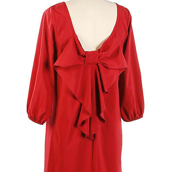 Solid Bow Back 3/4 Bubble Shift Dress - Red
