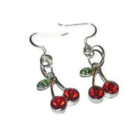 Red Cherry Earrings, Rockabilly Style Cherry Charm Earrings