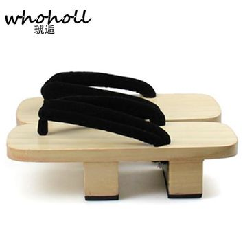 WHOHOLL women Flip-Flops summer sandals platform Japanese wooden geta bidentate paulownia clogs Cosplay costumes shoes WMGT-255