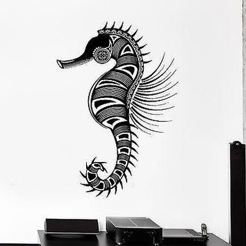 Wall Vinyl Sea Horse Ocean Symbol Ornament Mural Vinyl Decal Unique Gift (z3346)