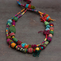 Ethnic statement necklace, colorful beaded fiber art jewelry, hand wrapped with felt, wooden and textile beads, OOAK