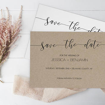 Wedding Save the Date Template, Rustic Save the Date, Printable Save the Date, Calligraphy Save The Date PDF Template, Minimal Save the Date
