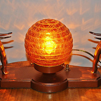 Art Deco Table Lamp, Vintage Lamp With Amber Globe Shade, Bronze-Tone Cast Metal Lamp