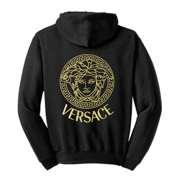 Versace inspred Unisex Hooded Sweatshirt Hoodie Black, Gold