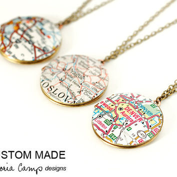 Custom Map Necklace, Round Vintage Locket, Map Jewelry, Personalized, Graduation - Brass Version