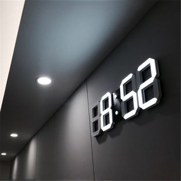 LED Digital Wall Clock with 3 levels Brightness Alarm Clock Wall Hanging Clock