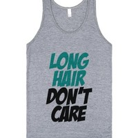 C - Long Hair Dont Care (Aqua)-Unisex Athletic Grey Tank
