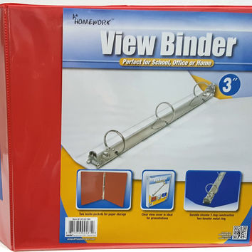 """3"""""""" Clear View Binder with Two Inside Pocket Red Case Pack 12"""