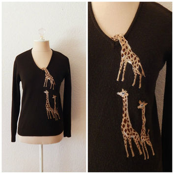 Vintage 80s Womens Sweater - Peeping Tom Giraffe Pullover Sweater Small