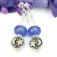 Moon and Stars Earrings, Pearlized Blue Lampwork Handmade Celestial Dangle Jewelry