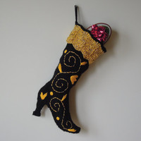 Christmas stocking - READY TO SHIP knitted black boot with golden cuff and embroidery