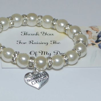 mother of groom gift - mother bracelet - mother in law gift - wedding thank you - grooms mother - wedding bracelet - handmade bracelet